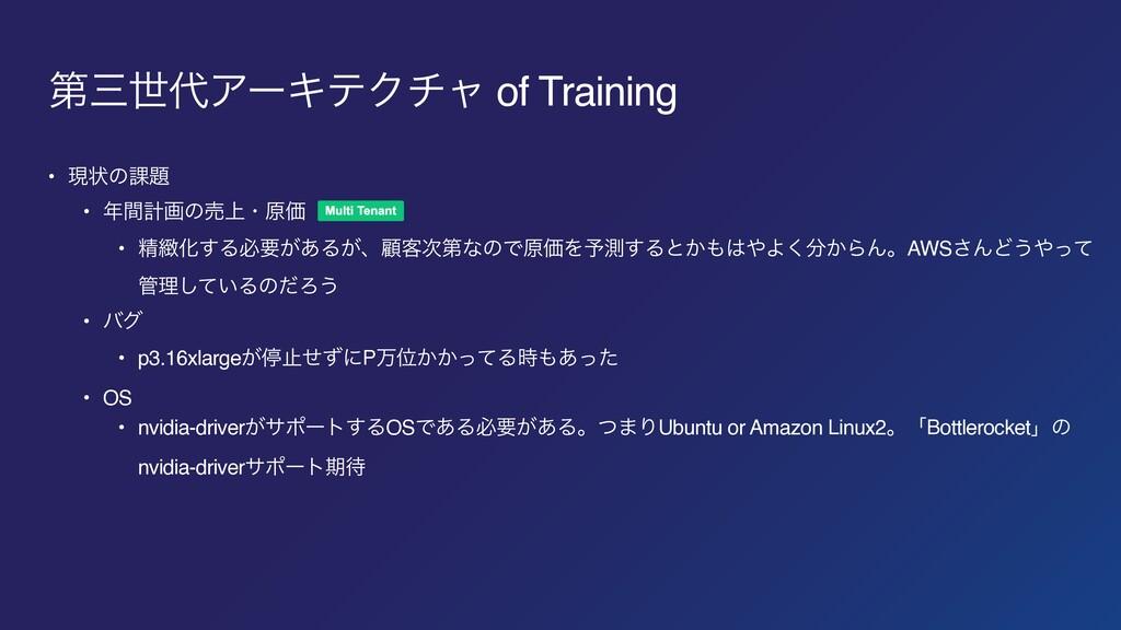 ୈੈΞʔΩςΫνϟ of Training • ݱঢ়ͷ՝ • ؒܭըͷച্ɾݪՁ • ...
