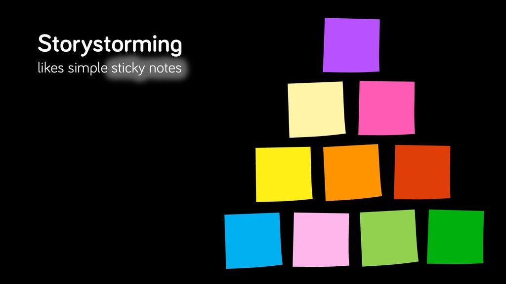 Storystorming likes simple sticky notes