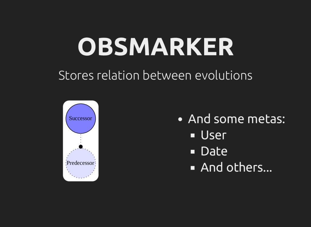 OBSMARKER Stores relation between evolutions Su...