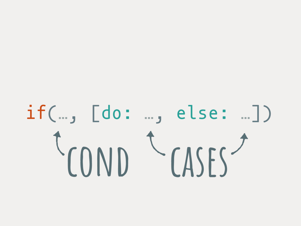 if(…, [do: …, else: …]) cases cond
