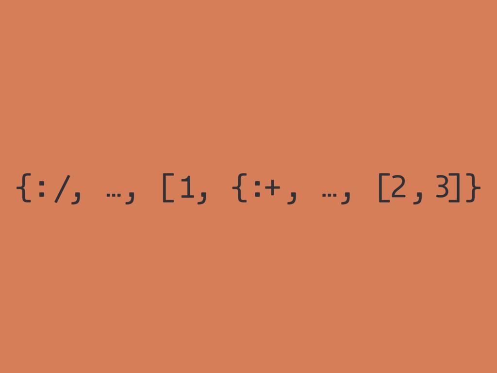 {: , …, [ , {: , …, [ , ]} / 1 + 2 3
