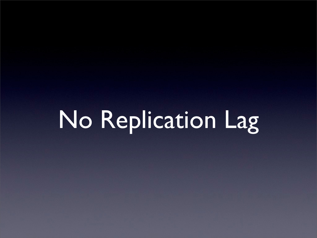 No Replication Lag