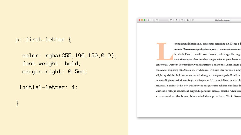 p::first-letter { color: rgba(255,190,150,0.9);...