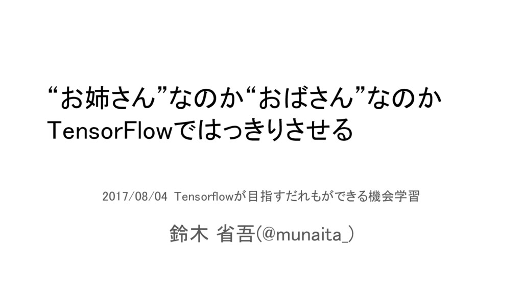 2017/08/04 Tensorflowが目指すだれもができる機会学習 鈴木 省吾(@mun...