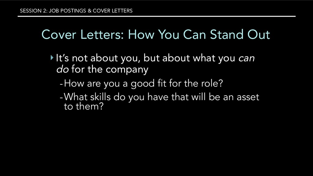 SESSION 2: JOB POSTINGS & COVER LETTERS Cover L...
