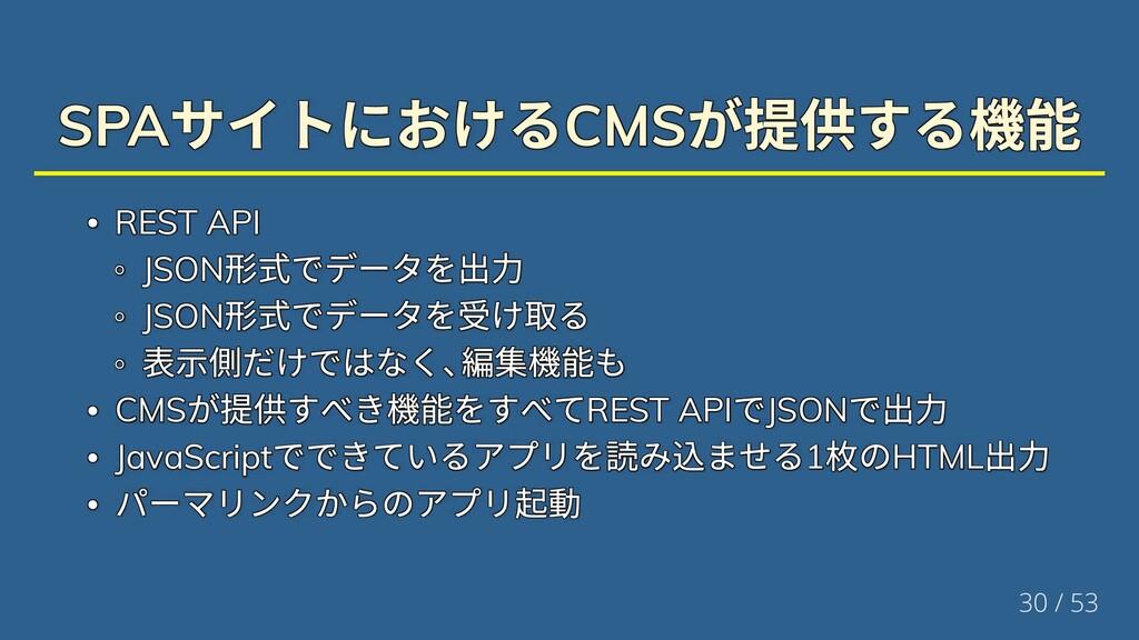 SPA サイトにおけるCMS が提供する機能 SPA サイトにおけるCMS が提供する機能 S...