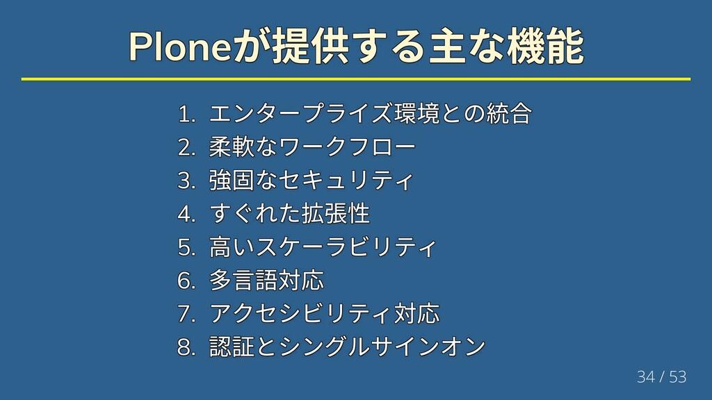 Plone が提供する主な機能 Plone が提供する主な機能 Plone が提供する主な機能...