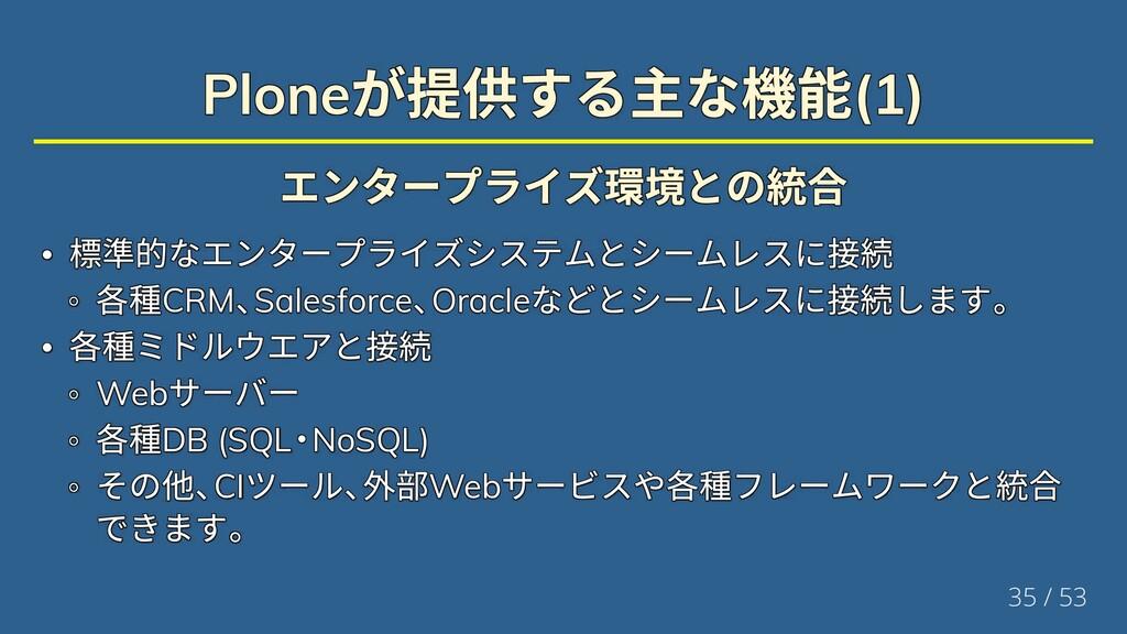 Plone が提供する主な機能(1) Plone が提供する主な機能(1) Plone が提供...