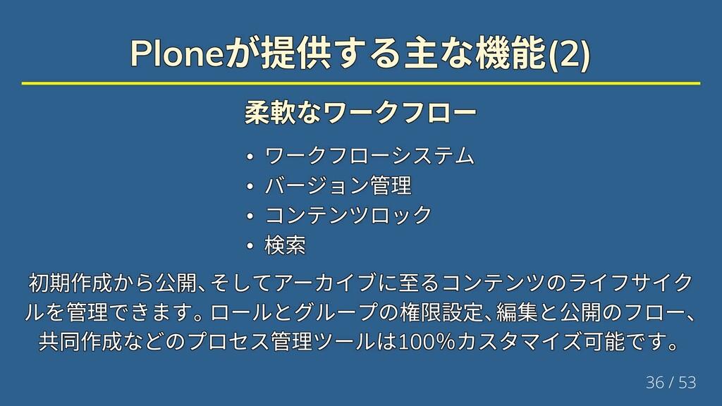 Plone が提供する主な機能(2) Plone が提供する主な機能(2) Plone が提供...