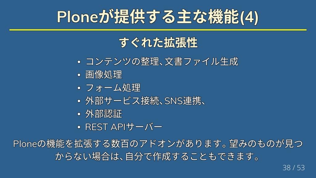 Plone が提供する主な機能(4) Plone が提供する主な機能(4) Plone が提供...