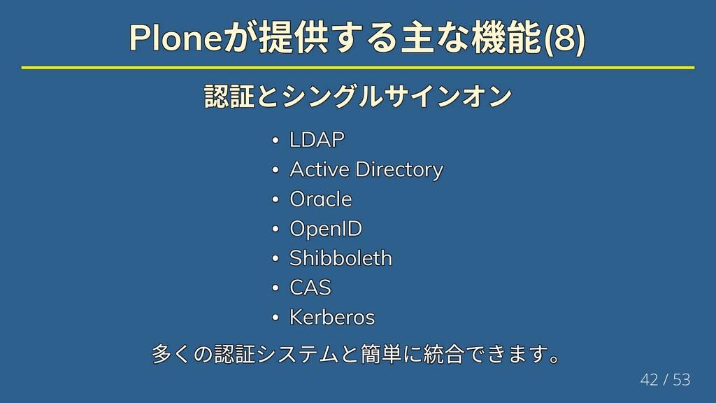 Plone が提供する主な機能(8) Plone が提供する主な機能(8) Plone が提供...