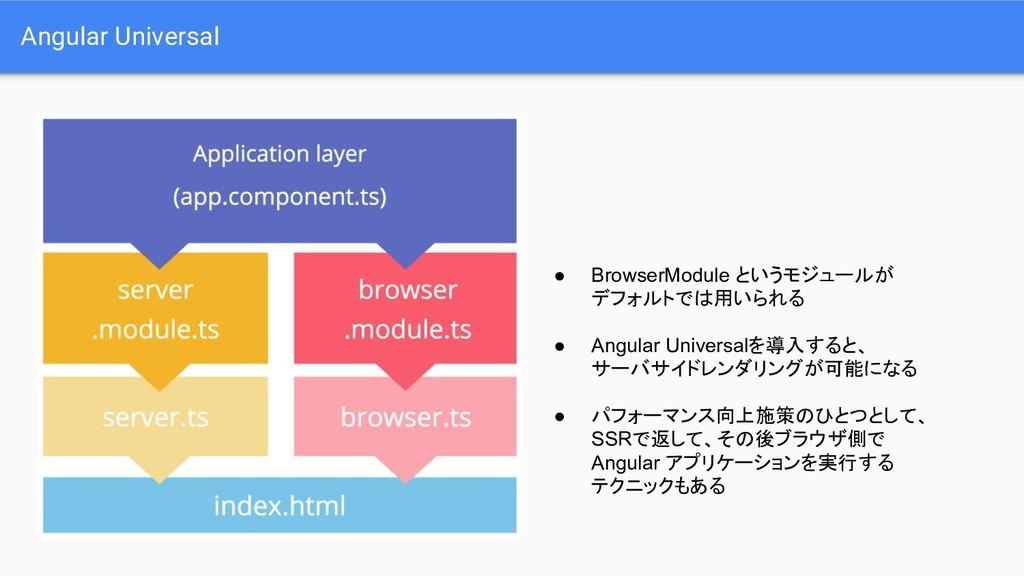 Angular Universal ● BrowserModule というモジュールが デフォ...
