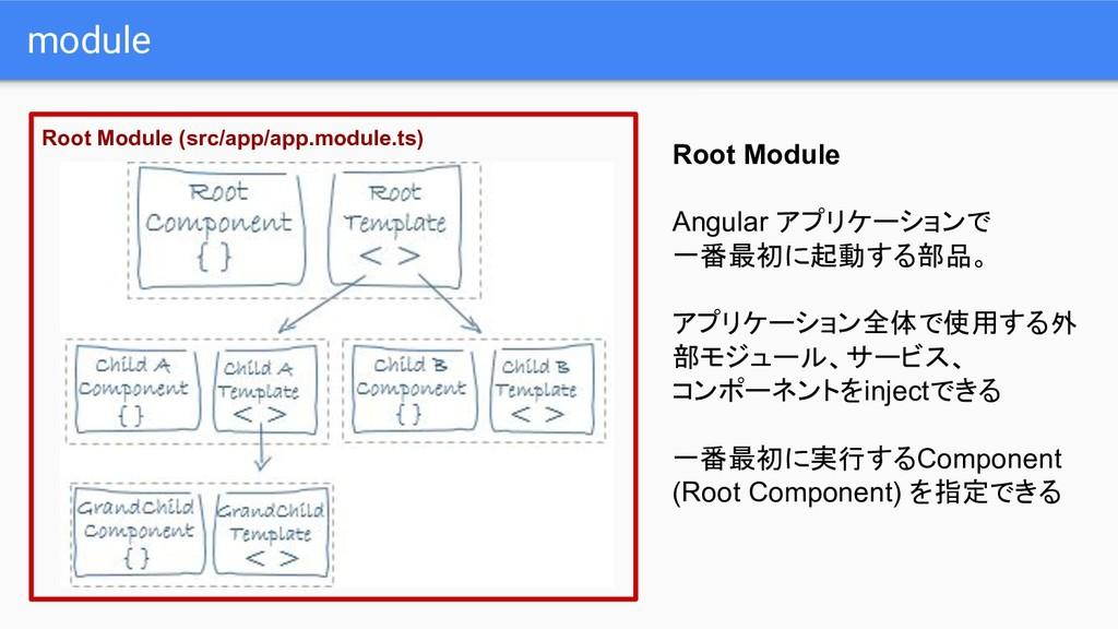 module Root Module Angular アプリケーションで 一番最初に起動する部...