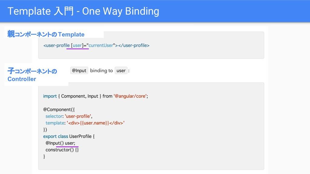 Template 入門 - One Way Binding 親コンポーネントのTemplate...