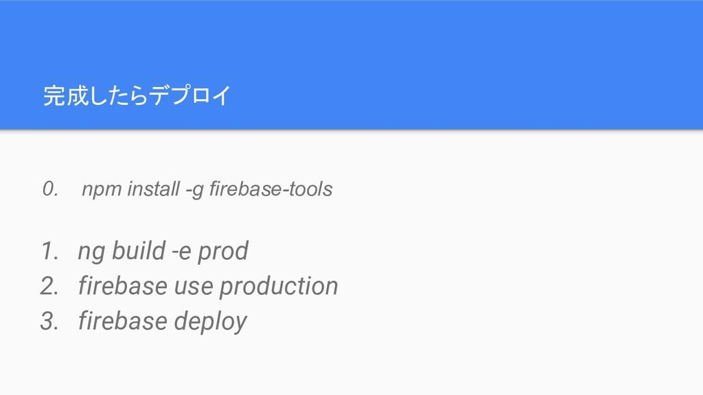 完成したらデプロイ 1. ng build -e prod 2. firebase use p...