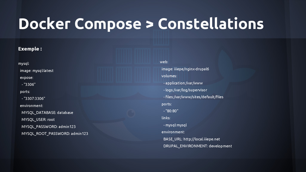 Docker Compose > Constellations Exemple : mysql...