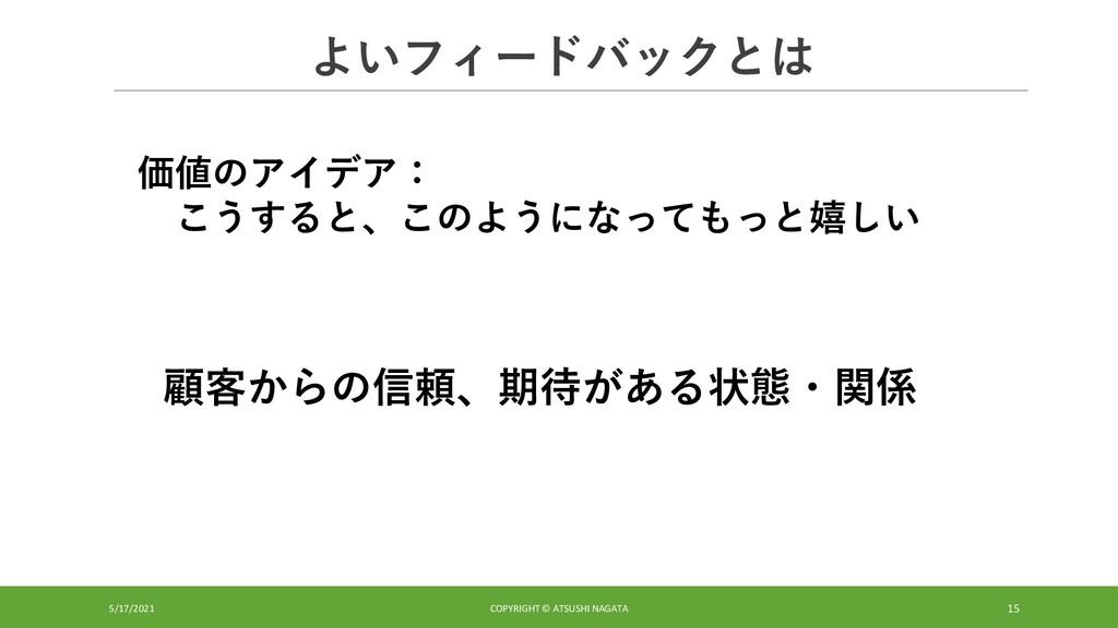 よいフィードバックとは 5/17/2021 COPYRIGHT © ATSUSHI NAGAT...