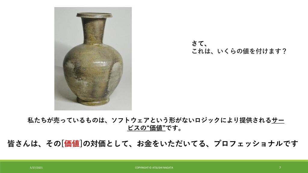 5/17/2021 COPYRIGHT © ATSUSHI NAGATA 7 さて、 これは、...