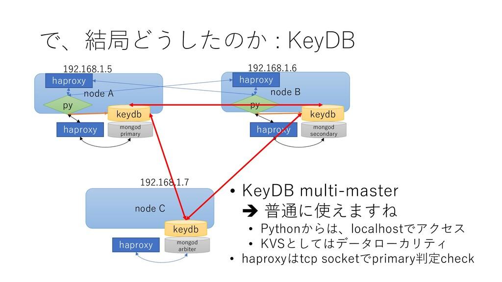 で、結局どうしたのか : KeyDB node C node B node A keydb k...