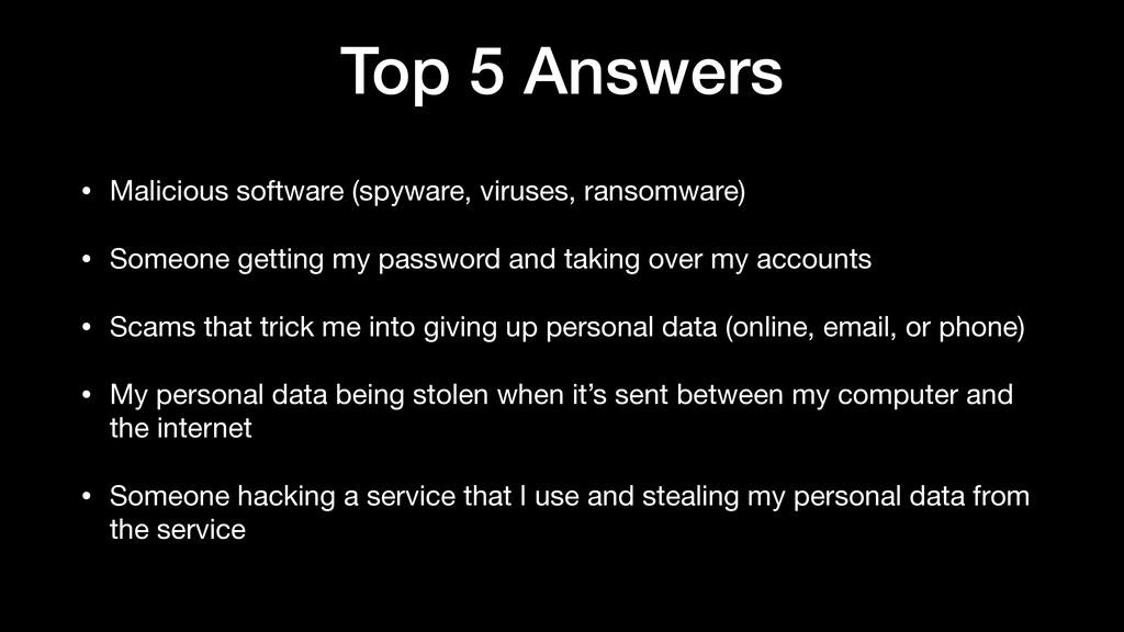 Top 5 Answers • Malicious software (spyware, vi...