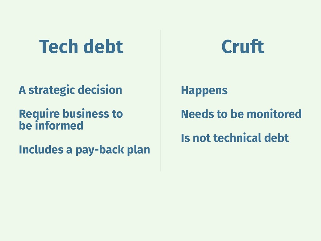 Tech debt Cruft Happens Needs to be monitored I...
