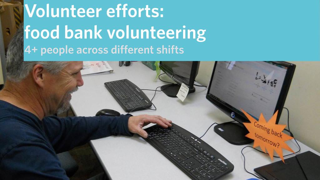 Volunteer efforts: food bank volunteering 4+ pe...