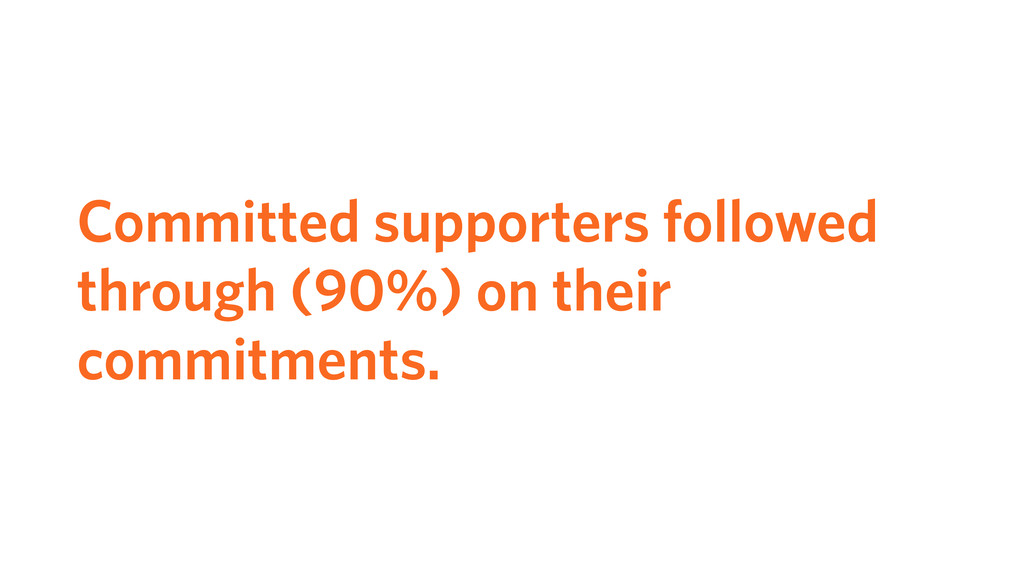 Committed supporters followed through (90%) on ...