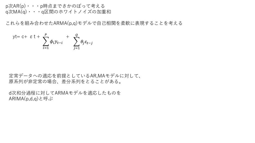 p次AR(p)・・・p時点までさかのぼって考える q次MA(q)・・・q区間のホワイトノイズの...