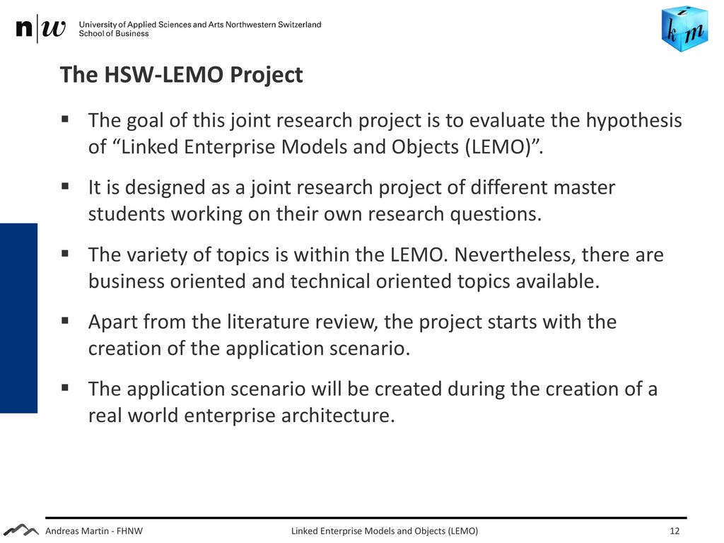Andreas Martin - FHNW The HSW-LEMO Project  Th...
