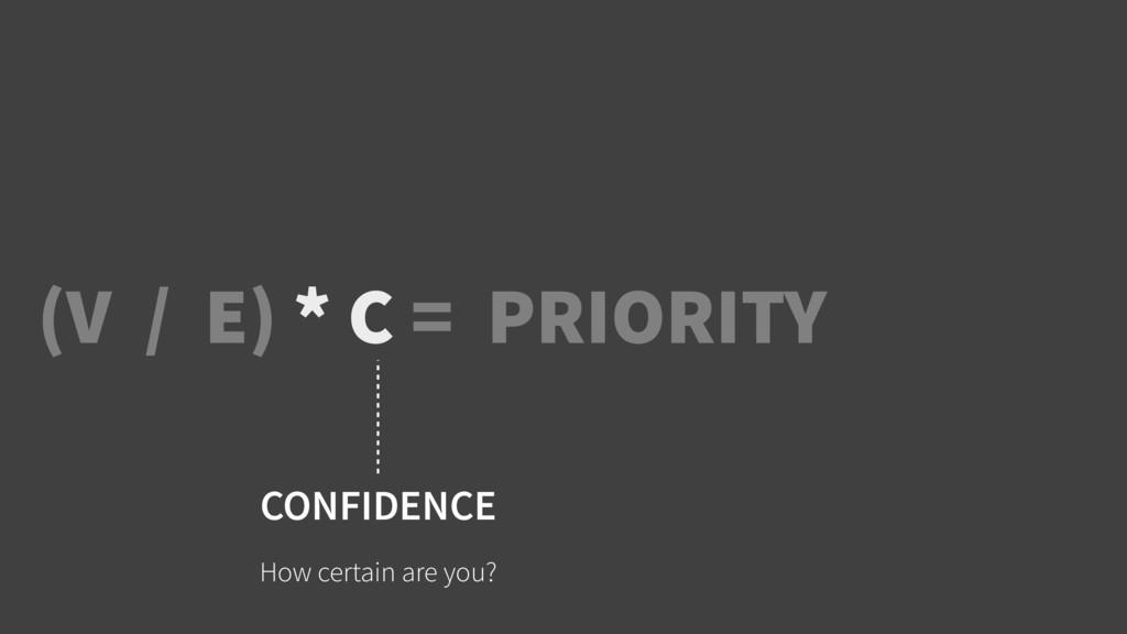 (V / E) * C = PRIORITY CONFIDENCE How certain a...