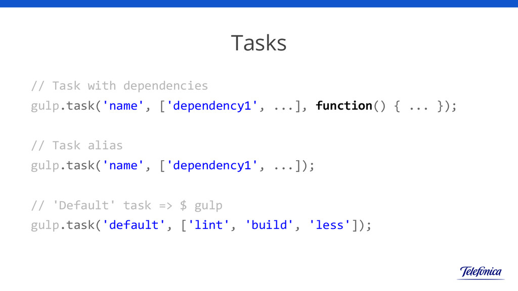 Tasks // Task with dependencies gulp.task('name...