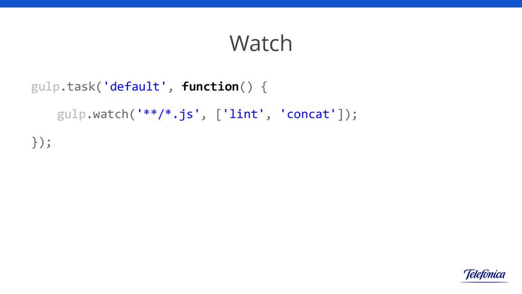 Watch gulp.task('default', function() { gulp.wa...
