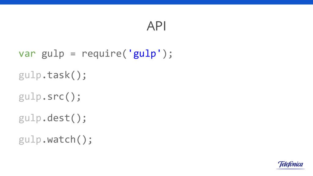 API var gulp = require('gulp'); gulp.task(); gu...