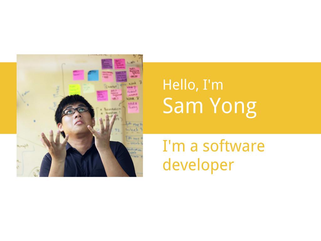 Hello, I'm Sam Yong I'm a software developer