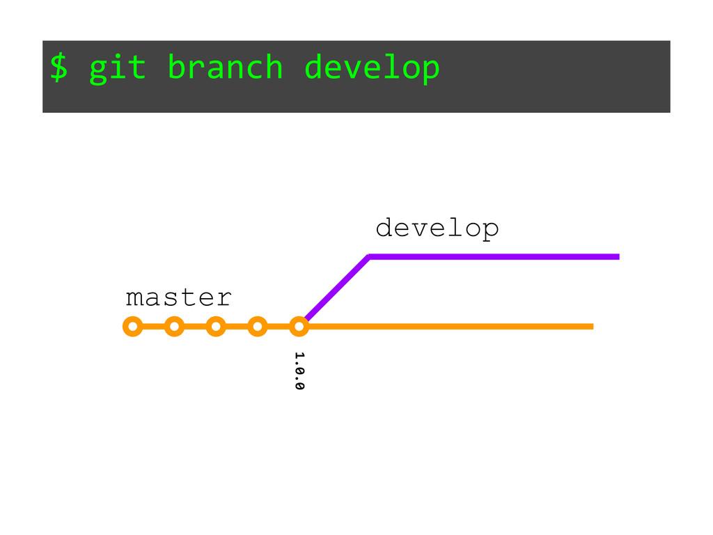 $ git branch develop 1.0.0 master develop
