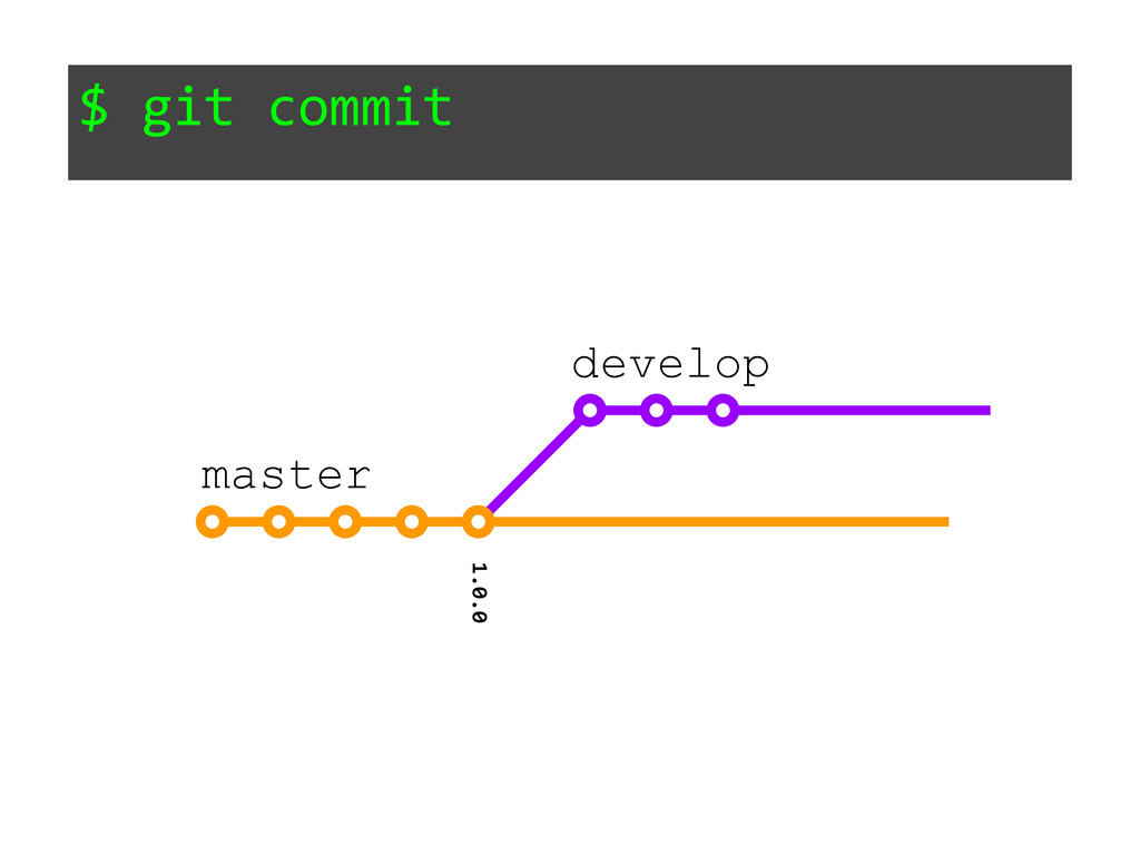 $ git commit 1.0.0 master develop