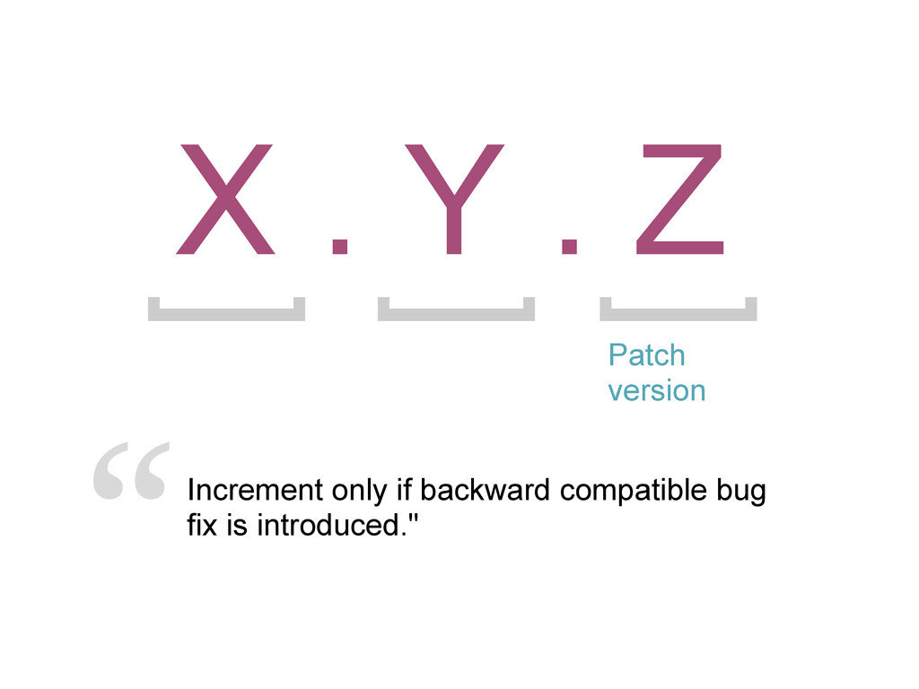X . Y . Z Patch version Increment only if backw...