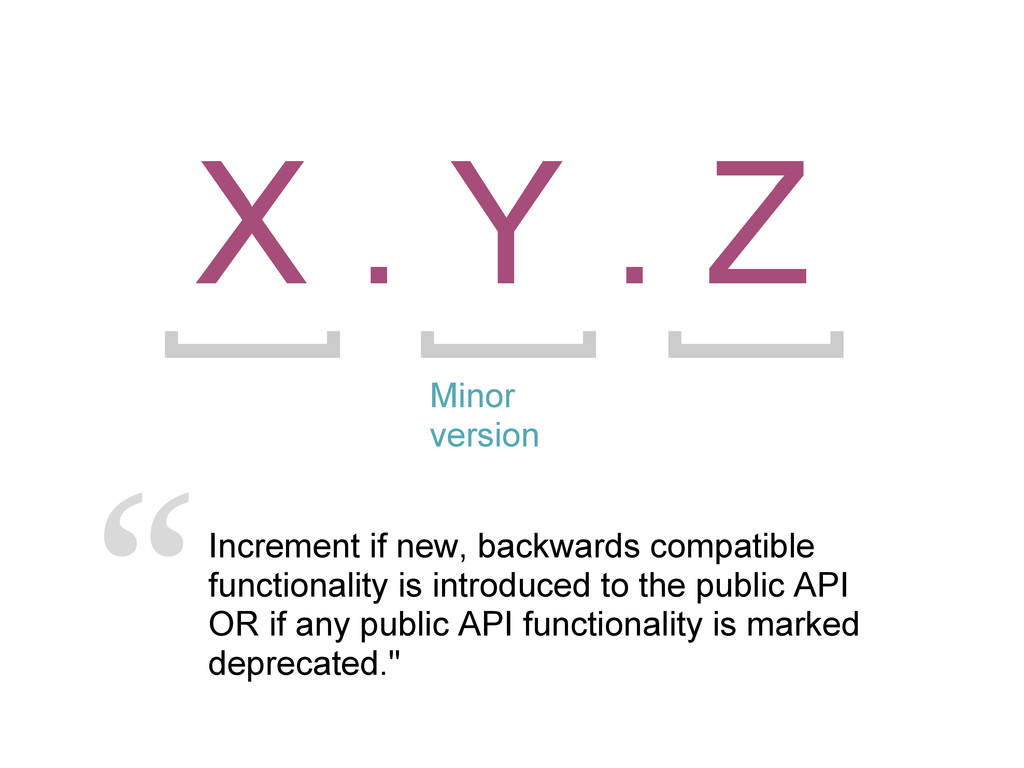 X . Y . Z Minor version Increment if new, backw...