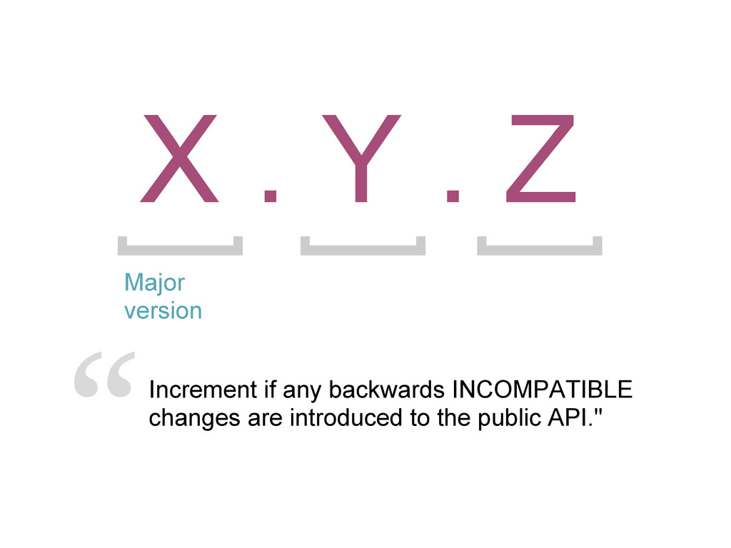 X . Y . Z Major version Increment if any backwa...