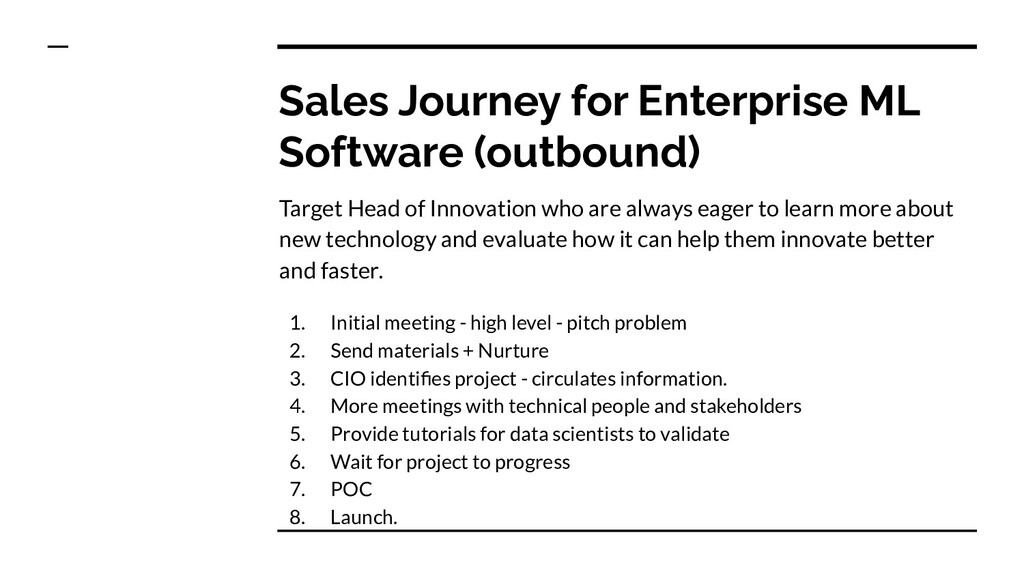 Sales Journey for Enterprise ML Software (outbo...