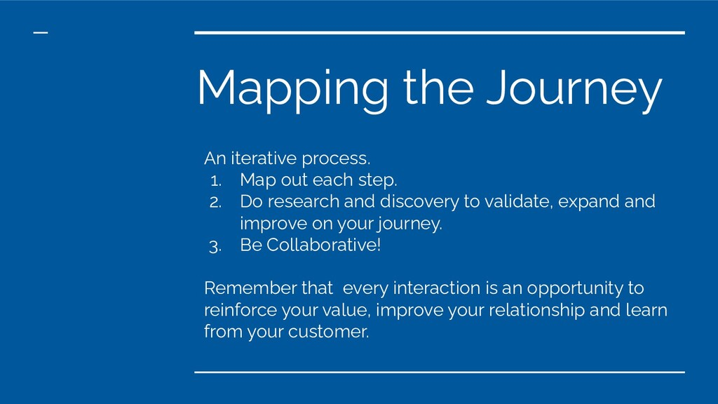 Mapping the Journey An iterative process. 1. Ma...
