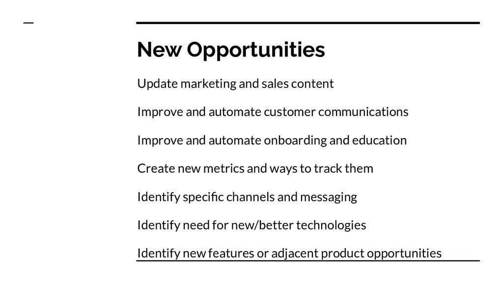 New Opportunities Update marketing and sales co...