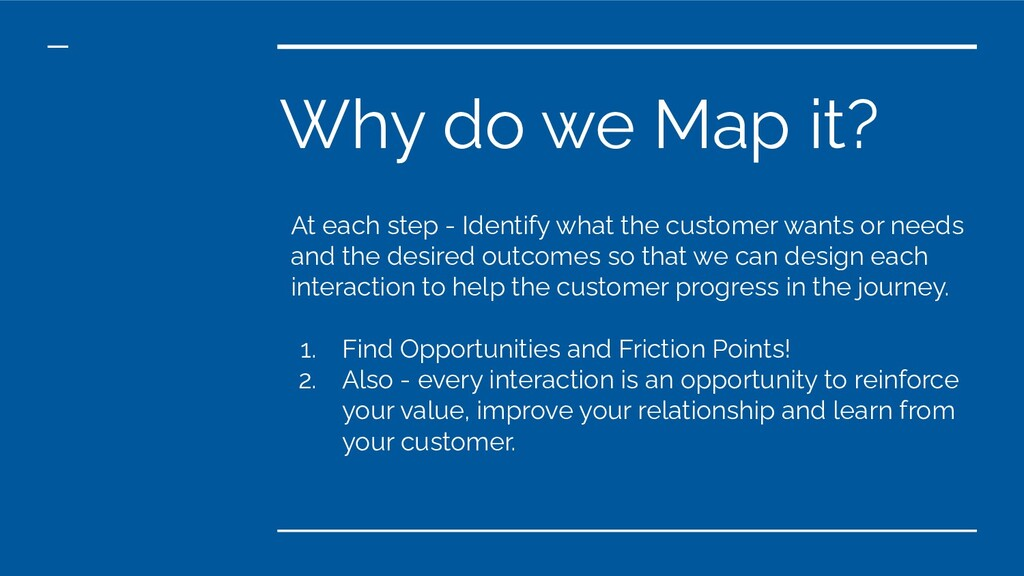 Why do we Map it? At each step - Identify what ...