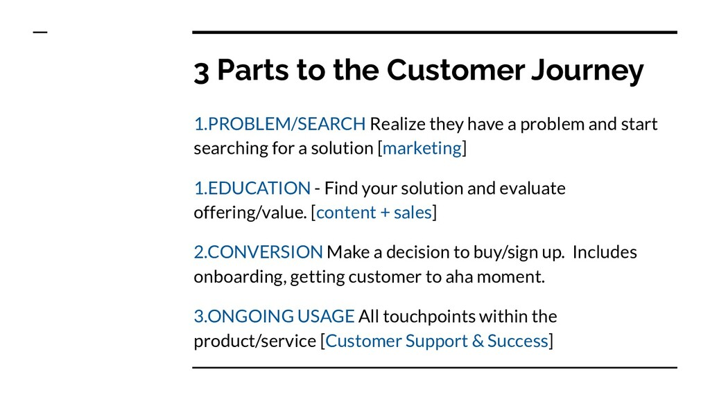 3 Parts to the Customer Journey 1.PROBLEM/SEARC...