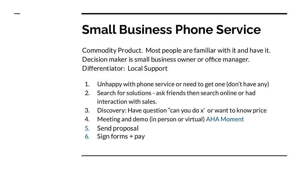 Small Business Phone Service Commodity Product....