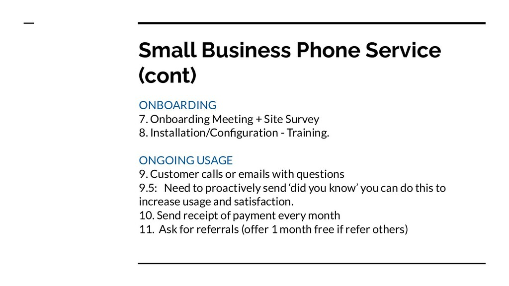 Small Business Phone Service (cont) ONBOARDING ...