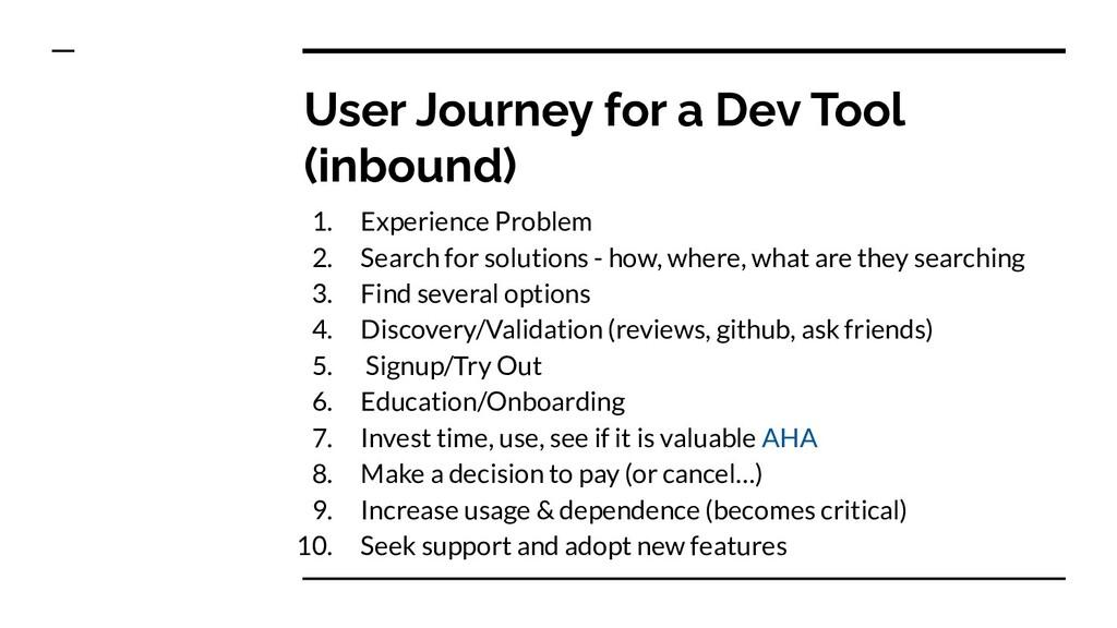 User Journey for a Dev Tool (inbound) 1. Experi...