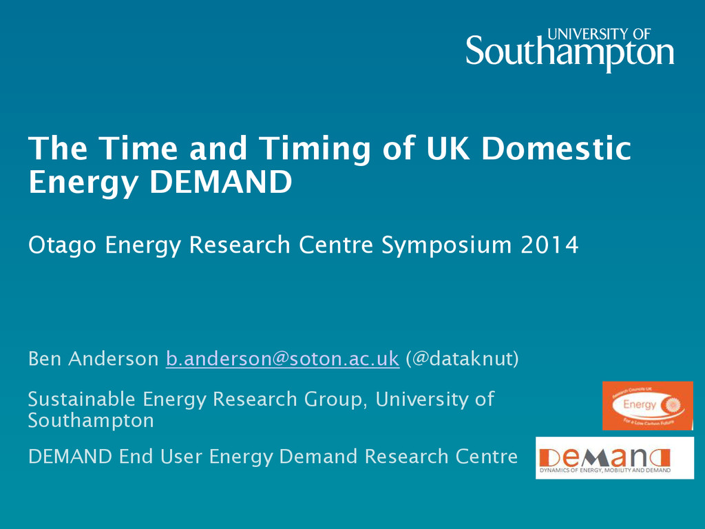 The Time and Timing of UK Domestic Energy DEMAN...