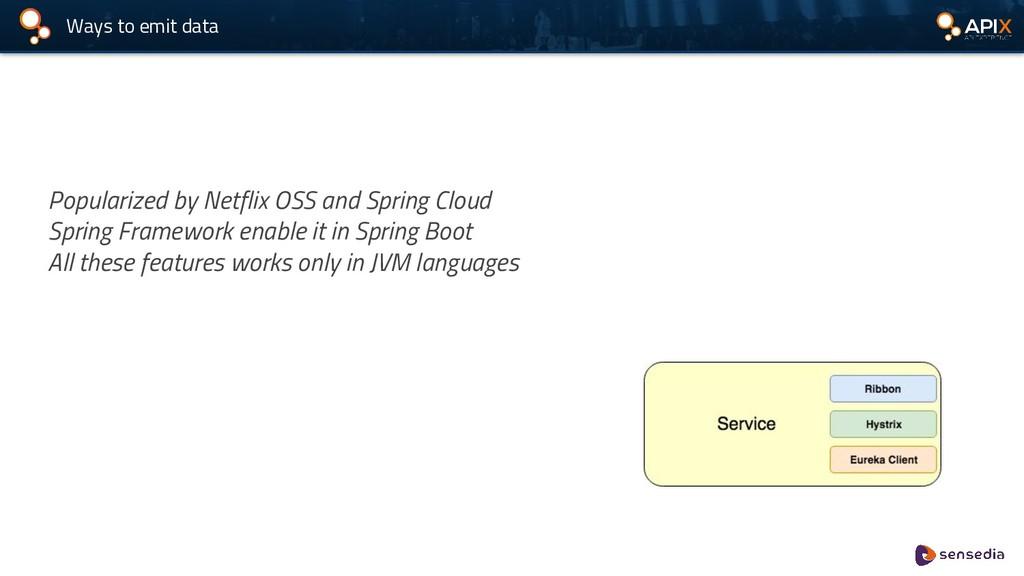 Ways to emit data Popularized by Netflix OSS an...