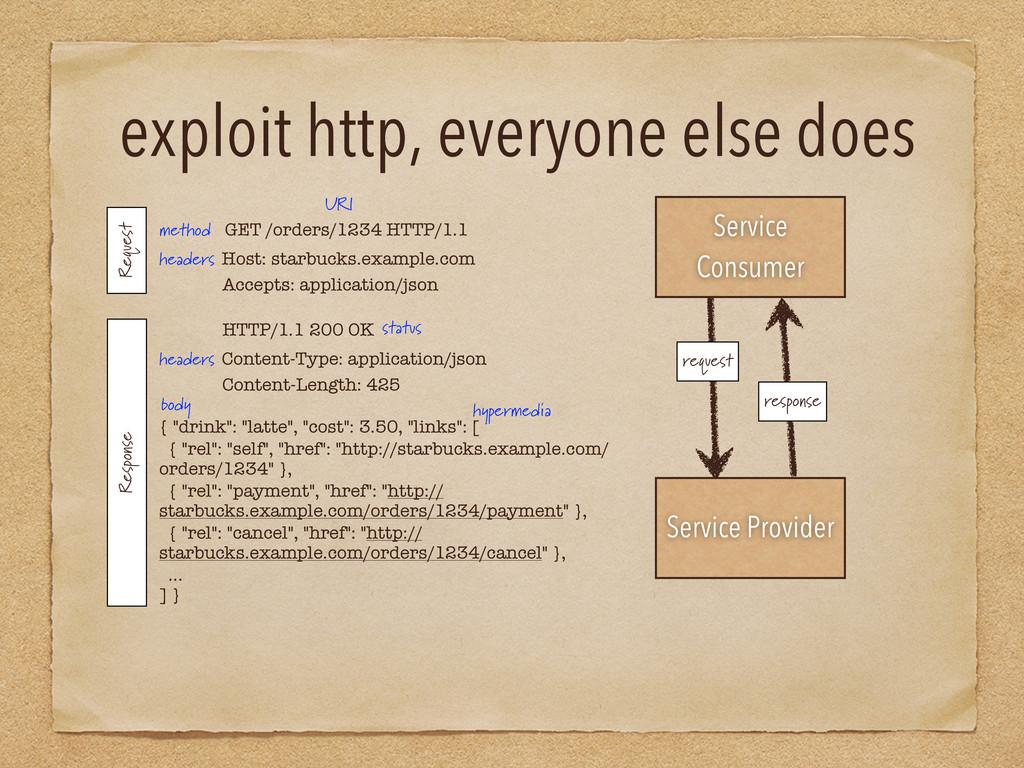 exploit http, everyone else does Service Consum...